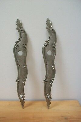 Matching Pair of Vintage French silver coloured door lock plates #34 rococo