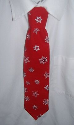 Boys Red Christmas Snowflakes Tie - Pre-tied elasticated
