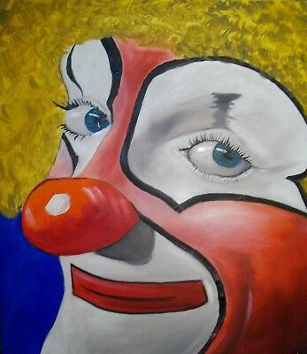"""Original abstract oil painting on canvas """"The Clown"""" by Kevin Richards 20""""x24"""""""