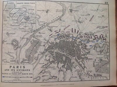 Paris And Its Environs, 1814, Antique Map, A K Johnston Rare M2