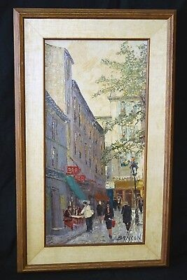 """50s French Impressionist Oil Painting """"Paris Street"""" by Maurice Brisson (Cha)"""
