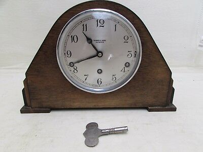 Art Deco Garrard Westminster Chimes Mantel Clock Original Key Running