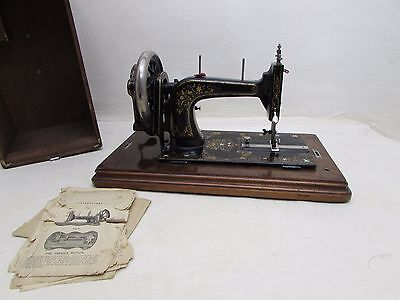 Antique Hand Crank Sewing Machine With Accessories Possibly Frister and Rossmann