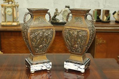 Big Pair of French Art Deco Vase With Marble Base Circa 1935s AS IS
