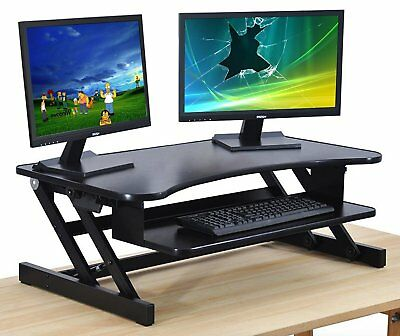 Black Standing Desk - Height Adjustable Sit Stand Desktop Converter - 32in Wide