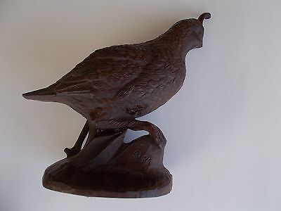 """Quail, Resin, with Detailed Carving, 6.5"""" Tall, Excellent Condition"""