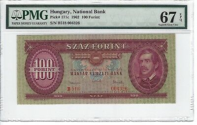 P-171c  1962 100 Forint, Hungary National Bank, PMG 67EPQ Finest Known!