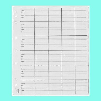 Coin Pages - Pack Of 5 Pages - 30 Pockets / Page - 9 Holes-Fit Up To 50 Cent