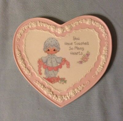 "1994 Precious Moments Pink Heart Wall Plaque ""You Have Touched So Many Hearts"""