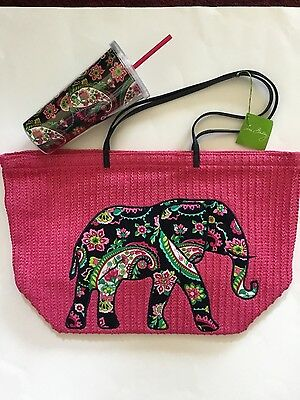 NWT Vera Bradley Large Straw Tote & Travel Tumbler in PETAL PAISLEY~Free Ship