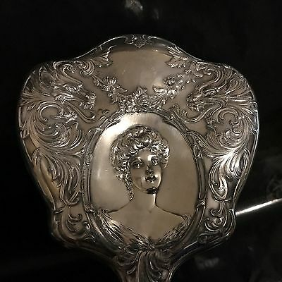 LSNR Rare Large Antique Signed Portrait Vanity Mirror Silver???