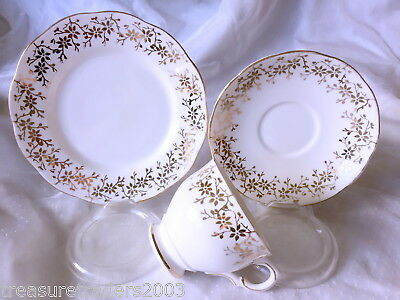 🌟 1935 Trio Salisbury China Gold Flower & Leaf Teacup Saucer Side Plate
