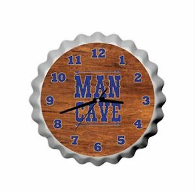MAN CAVE BOTTLE TOP Wall Clock. Its always Beer O'Clock.. NeW 24cm.
