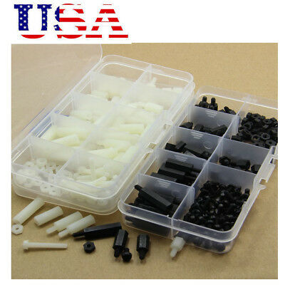 300pcs M3 Nylon Hex Spacers Screw Nut Assortment Kit Stand off Plastic Set USA