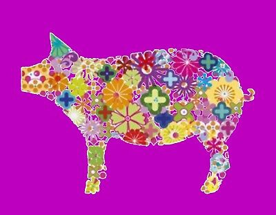 METAL MAGNET Image Of Flowers In Shape Of Pig Yellow Purple Green Red MAGNET