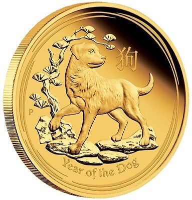 2018 $15 Lunar Series - Year of the Dog - 1/10 oz Gold Proof Coin - Perth Mint