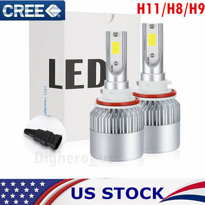 2x H11/H8/H9 168000LM LED HEADLIGHT COB BULBS HIGH BEAM KIT 6500K WHITE US GG