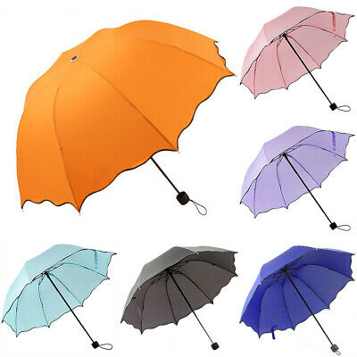Anti UV Sun Rain Umbrella Women Windproof Travel Compact 3 Folding Umbrella