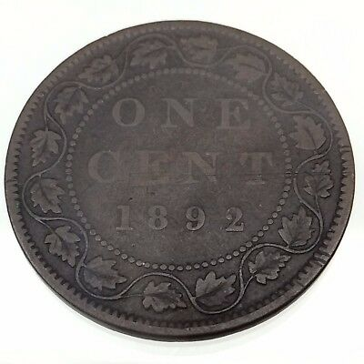 1892 Canada One Cent 1 Penny Copper Circulated Large Canadian Coin B353