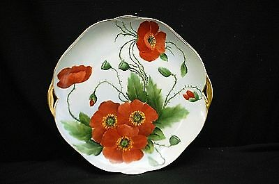 Antique Silesia Hand Painted Limoges Plate Red Poppy Flowers Gold Trim Germany