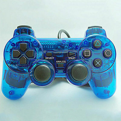2019 Blue Twin Shock Game Controller Joypad Pad for Sony PS2 Playstation 2