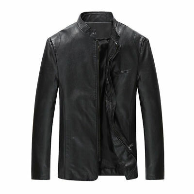 New Men's Leather Jacket Black Slim fit Biker Motorcycle jacket coat