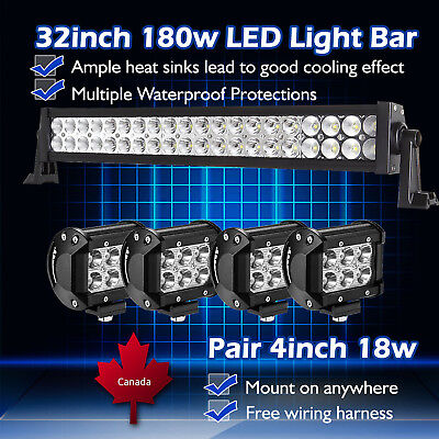 "32inch 30"" LED Work Light Bar Combo + 4"" inch CREE Pods Offroad 4x4 SUV Truck 20"