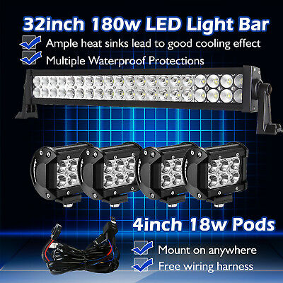 """32inch 30"""" LED Work Light Bar Combo + 4"""" CREE Pods Offroad ATV 4x4 SUV Truck 20"""