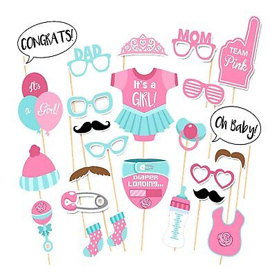25pcs Party Props Photo Booth Funny Selfie Kit Girl Baby Shower Party Event UK