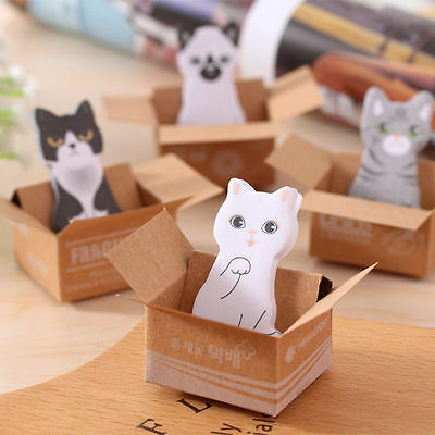 6pcs Portable cute 3D Cat Sticker Bookmark Sticky Note Point Marker Memo Pad new