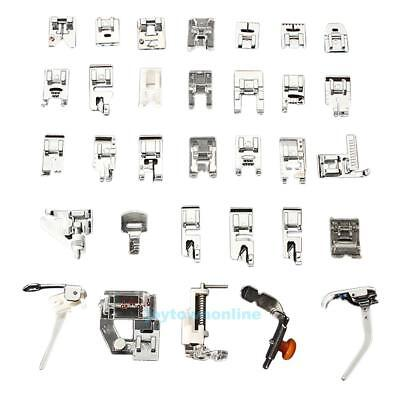 32 PCS Domestic Sewing Machine Foot Feet Snap On For Brother Singer Set