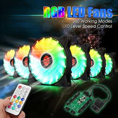 6-Pack RGB Adjust LED Computer PC Cooling Fan 120mm with Controller + Remote  AU