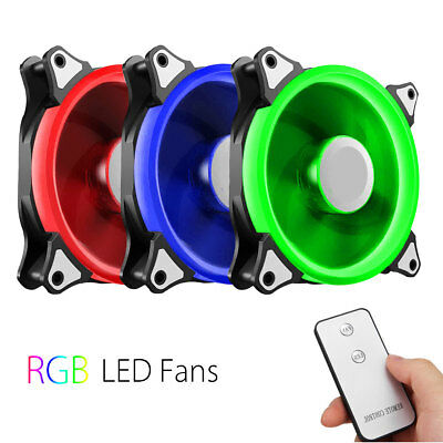 3-Pack RGB Adjust LED Computer Case PC Cooling Fan 120mm + Controller & Remote