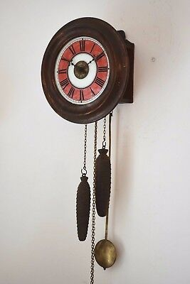 C.1900 Antique Late Victorian Postmans Twin Weight Driven Alarm Wall Clock