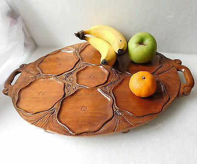 "Vintage wooden serving tray oval 18"" x 12"""