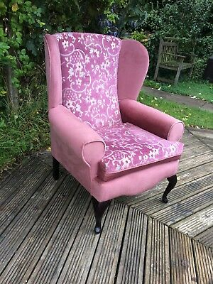 dusky pink comfortable wingback arm chair, see matching chair