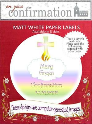 Personalised Confirmation Labels/Stickers, Choice of 8 Sizes and Shapes