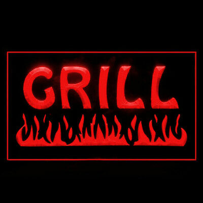 110032 Fire Grill Chips Cafe Restaurant BBQ Bar Beef Fries Chips LED Light Sign
