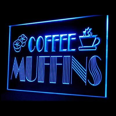 110045 OPEN Coffee Shop Muffins cafe Cake Chocolate Brown Sugar LED Light Sign