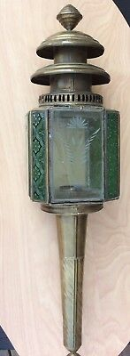 Antique Brass Glass Gas Light Fixture Sconce Green Decor Lantern Carriage Buggy