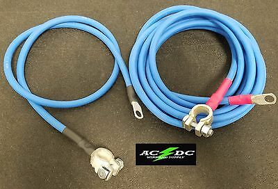 Battery Relocation Kit, # 4 Awg HD welding Cable, Top Post 6' BLUE / 3' BLUE USA