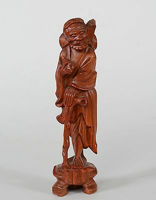 Chinese Boxwood Figure God of Longevity Shou Old Man Peach Staff