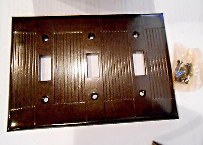 QTY 2 NOS Ribbed Brown 3 Gang Toggle Eagle Bakelite Switch Cover Plate w Screws