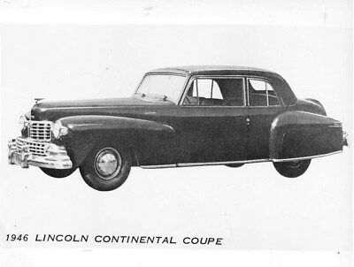 1946 Lincoln Brazil Continental Coupe ORIGINAL Factory Photo oub7362