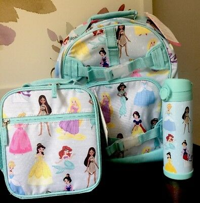 NWT Pottery Barn DISNEY PRINCESS Backpack Lunch Bag Box Water Bottle