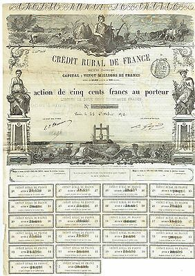 Action de 500 Francs Crédit Rural de France - 1872