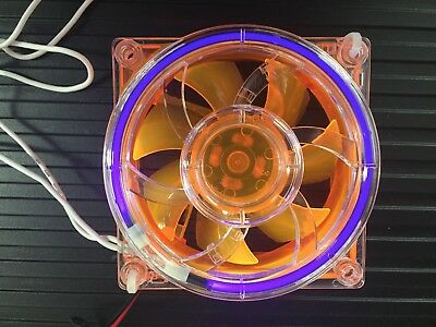 80mm Orange fan with  Cold Cathode Fan Grill