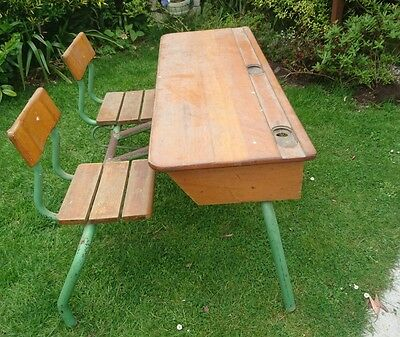 Vintage Antique French Double / Twin School Desk
