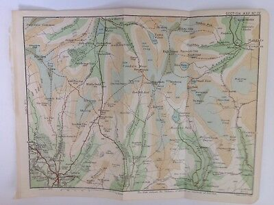 Lake District, Middle Dodd, Kentmere Fell, 1889 Antique Map Bartholomew, Atlas