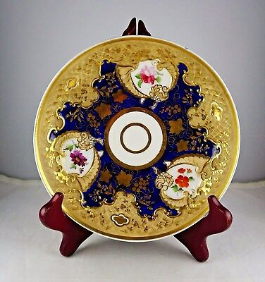 Antique Porcelain Low Bowl Gold Encrusted Cobalt Hand Painted Floral